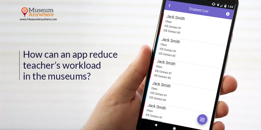 How can an app reduce teacher's workload in the museums?